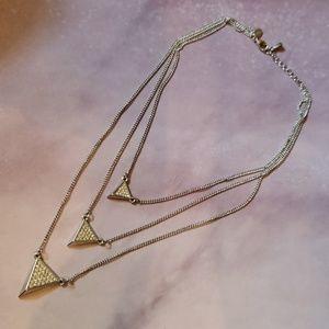 Layered silver rhinestone necklace